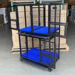 "$270 (new in box) stacking dog crate 37""x25""x64"" heavy-duty cage folding kennel w/ plastic tray (set of 2) for Sale in Whittier,  CA"