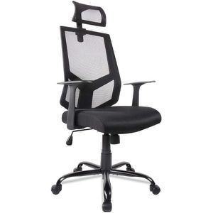 Black Ergonomic Office Chair Adjustable Headrest Mesh Office Chair Office Desk Chair Computer Task Chair for Sale in San Gabriel, CA