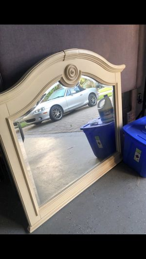 Wood trim off white table top/dresser mirror for Sale in Naples, FL
