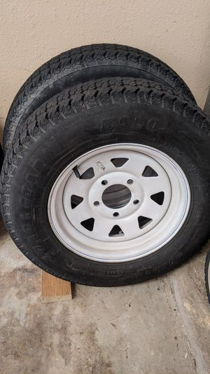 Pair of wheels and tires for trailer size r13 for Sale in Austin, TX