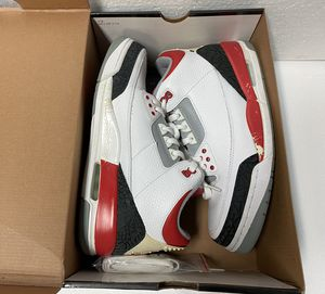 Mens Air Jordan 3 Retro White/Fire Red-Cement Grey Black Rouge (Size 9.5) for Sale in Dallas, TX