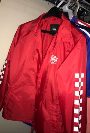 Mens Vans coaches jacket- red Size: small for Sale in Durham, NC