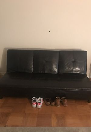 Black Leather Futon for Sale in College Park, MD