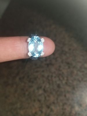 Levian ring aquamarine with diamonds and sapphire for Sale in Irving, TX