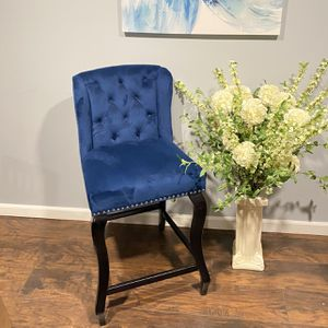 Classy Blue Velvet Accent Chair/Stool - Only One Available for Sale in Berkeley Township, NJ
