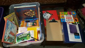 Box with kids books and binders for Sale in Kent, WA