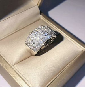 925 stamped sterling silver with white sapphire stones beautiful ring size 8 for Sale in Bellwood, IL