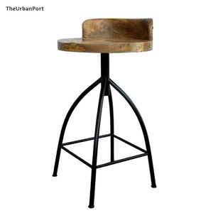 The Urban Port 28.5 in. H Brown and Black Industrial Style Adjustable Swivel Counter Height Stool with Backrest for Sale in Dallas, TX