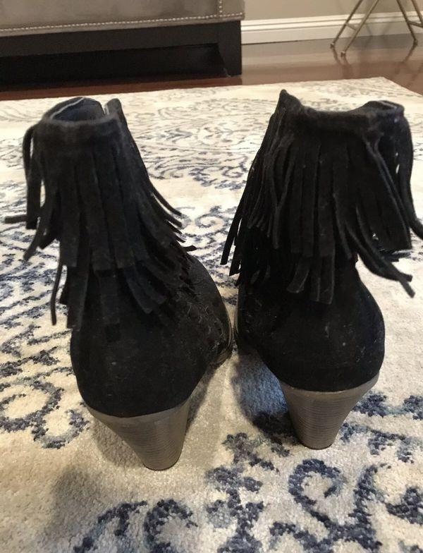 Fringe Booties Black Suede Women's size 8 Nature Breeze