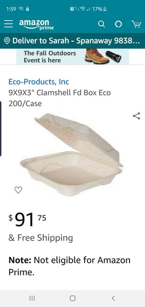 Clamshell to go box 200 ct new in case for Sale in McChord Air Force Base, WA