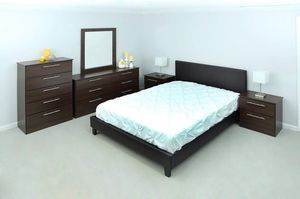 NEW QUEEN BEDROOM SET 6 pieces BED FRAME DRESSER AND MIRROR CHEST AND TWO NIGHTSTANDS MATTRESS IS NOT INCLUDED for Sale in Hialeah, FL