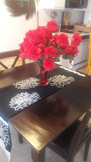 Wood dining table and two matching wood chairs for Sale in San Bernardino, CA
