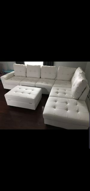 chaise end button tufted leather upholstered sofa sectionals with storage ottoman included NIB *reversible chaise for Sale in Houston, TX