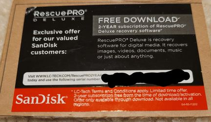 Sandisk Rescue Pro Deluxe 2 Year Subscription for Sale in Kirkland,  WA