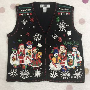 Vintage Christmas sweater vest Ugly Tacky carolers snowman Santa for Sale for sale  Alhambra, CA