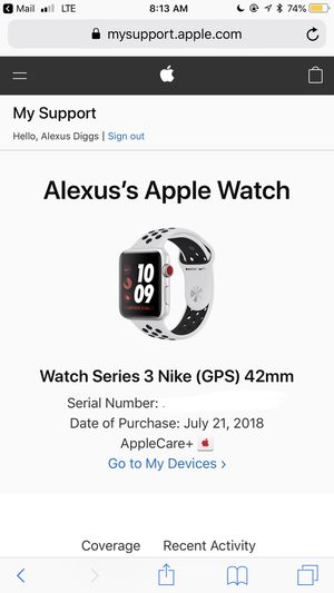 Series 3 Nike Apple Watch 42mm Space Grey for Sale in Pittsburgh, PA