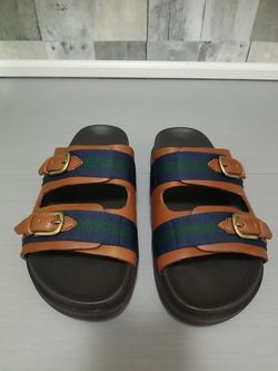 Polo Ralph Lauren Roche Leather Sandals Brown Green Mens Size 8D 14557 Rare New for Sale in North Las Vegas,  NV