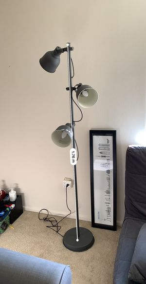 HEKTAR Floor lamp w/3-spots and LED bulbs, dark gray for Sale in Bethesda, MD
