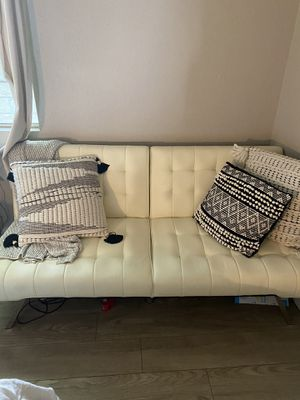 Cream/White Imitation Leather Fouton Couch for Sale in San Diego, CA