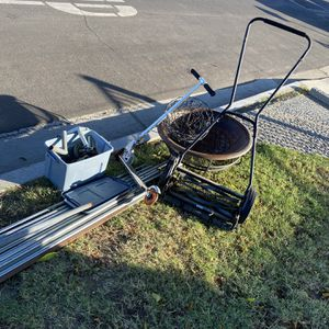 Curb Alert Free Fire Pit Push mower , Hanging Planter for Sale in Glendora, CA
