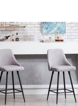 Set Of 2 Gray Fabric Barstools Counter Stools Gray Tufted Bar Chairs Counter Fabric Stools for Sale in Santa Ana,  CA