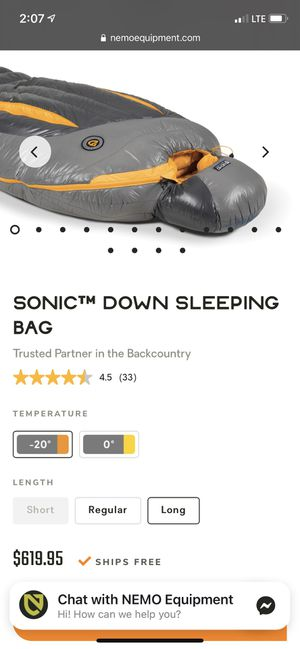 Nemo Sonic Sleeping Bag -20 New for Sale in Maple Valley, WA