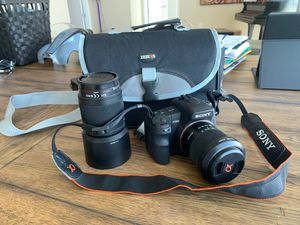 Sony alpha200 camera and additional 55-200 lens, camera bag for Sale in Atlanta, GA