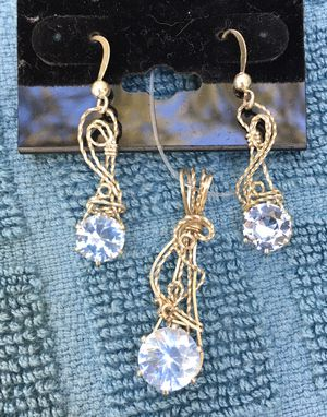 CZ Aquamarine Sterling Silver Wire Wrapped Pendant and Earrings for Sale in Ocoee, FL