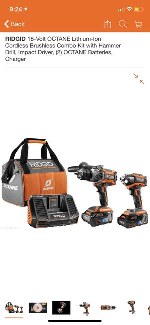 RIDGID 18-Volt OCTANE Lithium-Ion Cordless Brushless Combo Kit with Hammer Drill, Impact Driver, (2) OCTANE Batteries, Charger for Sale in San Dimas, CA