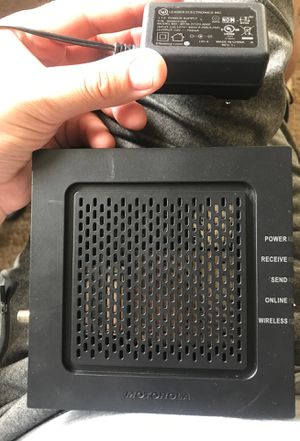 Motorola cable modem/router, used it with Xfinity and works really well, no issues with it at all it is in used condition hence the reason I am only for Sale in Lisle, IL