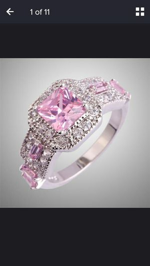 Women fashion bridal jewelry 8.6 Mm emerald Amethyst white and pink topaz morganite gemstone silver ring size 9 for Sale in Moreno Valley, CA