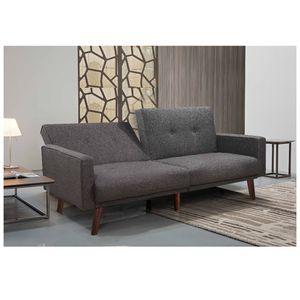 Split Back Futon Sofa Bed In Gray Linen Fabric for Sale in Monterey Park, CA