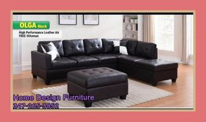 leather sectional with Ottoman for Sale in Queens, NY
