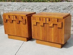 Pair of vintage Lane Paul Evans designed NIGHTSTAND END TABLES in a unique Cubist Brutalist design for Sale in Oceanside, CA