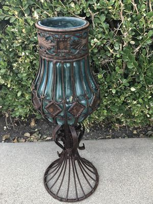 Stunning blue glass and metal iron candleholder 17 inches high for Sale in Modesto, CA