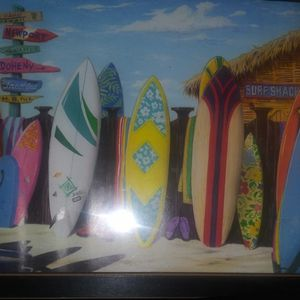 """Surf shack colorful surfboards all in a row framed art 11×17"""" for Sale in Puyallup, WA"""