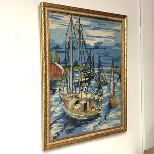 Vintage Framed Boats In Bay Needlepoint Picture Mid-Century for Sale in South Elgin, IL