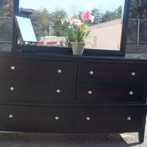 MODERN BLACK DRESSER WITH BIG MIRROR DRAWERS SLUDING SMOOTHLY GREAT CONDITION for Sale in Fairfax, VA