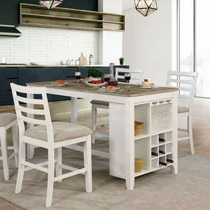 WHITE FINISH COUNTRY BREAKFAST STYLE COUNTER HEIGHT DINING TABLE SET STEMWARE WINE STORAGE for Sale in San Diego, CA