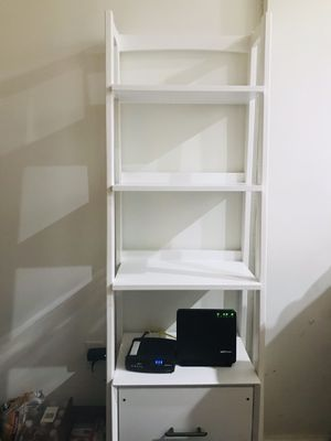Wood, White Bookcase with Storage Space for Sale in The Bronx, NY