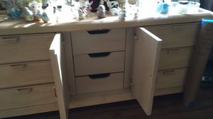 Long dresser with mirror, great quality, also has headboard! for Sale in Portland, OR