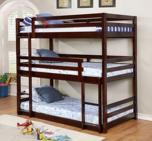 Triple bunk bed espresso color... $49 down payment... Easy to apply on our website 📲💻👨💻👩💻 for Sale in Las Vegas, NV