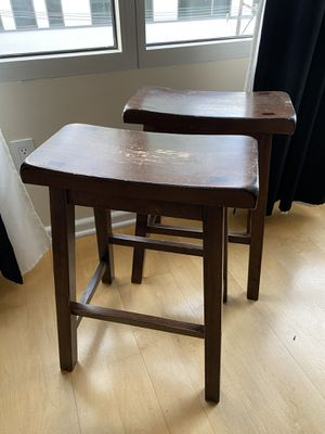 Wooden stools (set of 2). Real wood. for Sale in San Francisco, CA