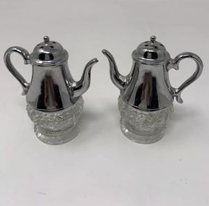 Teapot Pitcher Salt Pepper Shaker Set Metal With Glass Bottom for Sale in Hannibal, MO