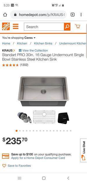 Kraus standart 30in 16 gouge undermount single bowl stainless steel kitchen sink for Sale in San Jose, CA