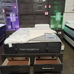BEDROOM SET: QUEEN STORAGE BED +DRESSER+NIGHTSTAND SKU#TC7480-SET for Sale in Santa Ana,  CA