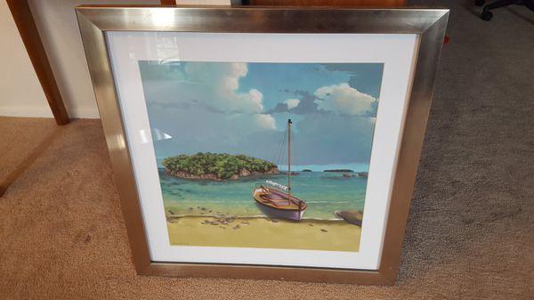 Framed Island Painting Wall Art