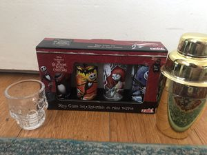Nightmare Before Christmas / skull shot glasses with mixer for Sale in Cypress, CA