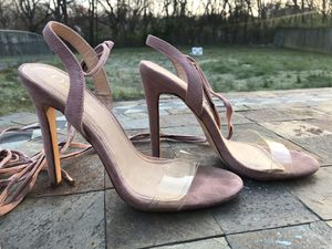 Sz 7.5 Olivia ballet lace up clear toe heels for Sale in Gallatin, TN