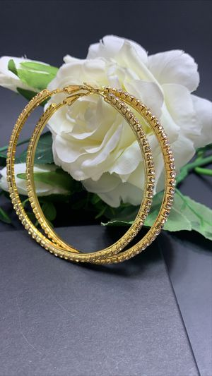 Gold and Silver Plated 86mm Big Circle Rhinestone Hoop Earrings, Silver and Gold Color (2 Pairs) for Sale in Los Angeles, CA